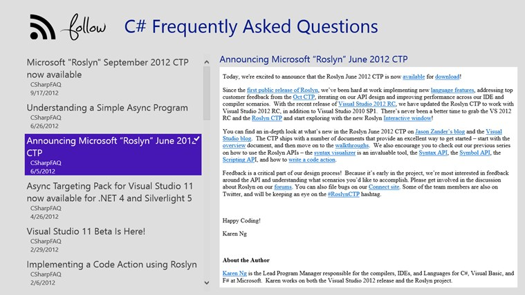 Follow C# FAQ follow