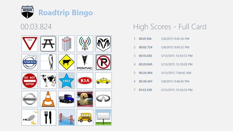Roadtrip Bingo bingo calling card