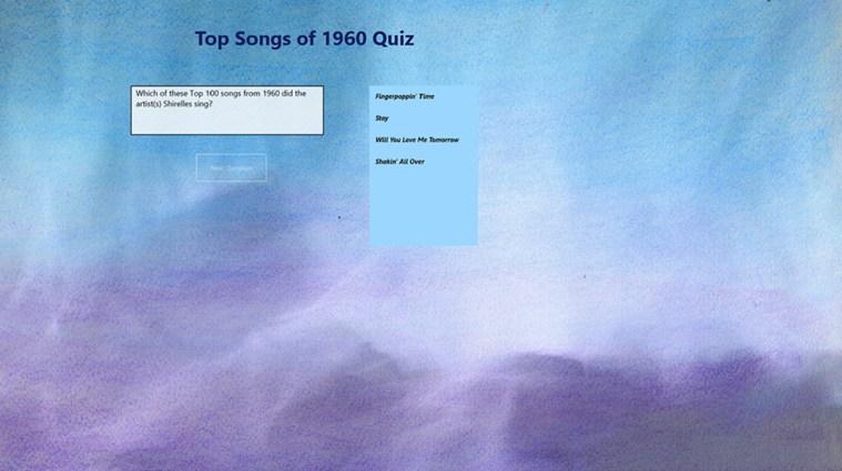 Top 100 Songs of 1960 Quiz