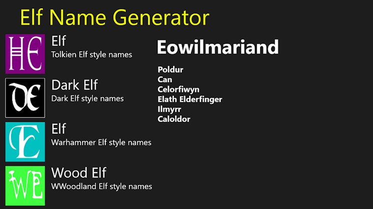 Elf Name Generator http://winapps.lisisoft.com/windows-apps/hunting-dog-names.html