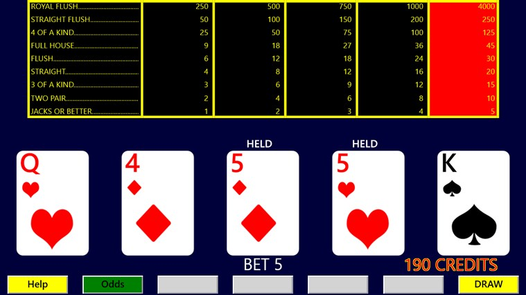 Video poker hints