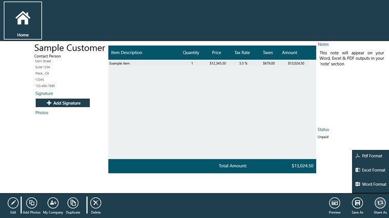 Tablet Invoice Pro invoice realty