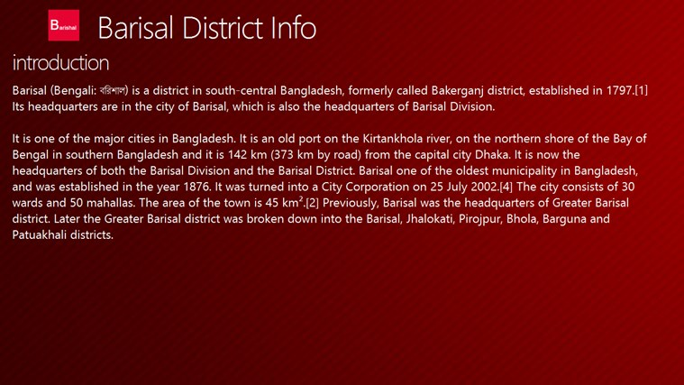 Barisal District Info