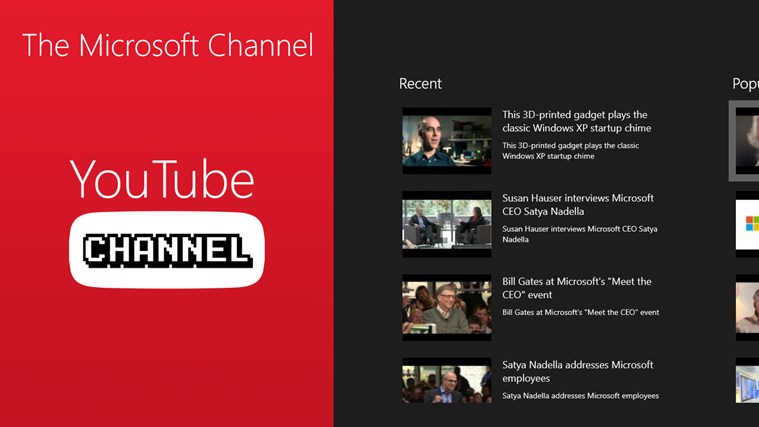 The Microsoft Channel playing video