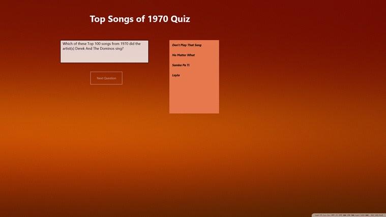 Top 100 Songs of 1970 Quiz