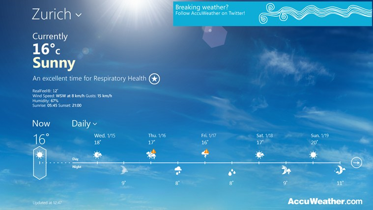 AccuWeather for Windows 8 weather