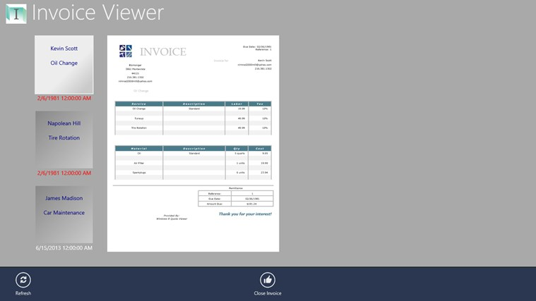 Invoice Viewer invoice realty