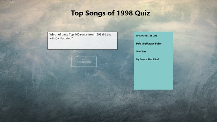 Top 100 Songs of 1998 Quiz