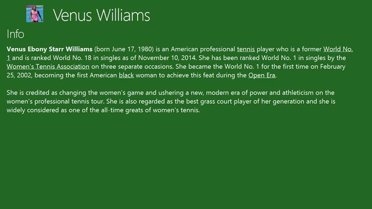 Venus Williams american player