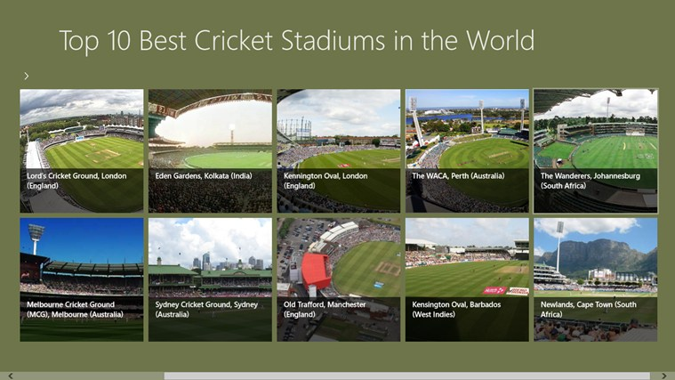 Top 10 cricket stadiums in the world windows app triadio for Best windows in the world
