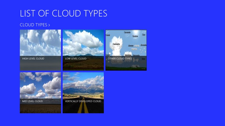 Types of clouds with descriptions