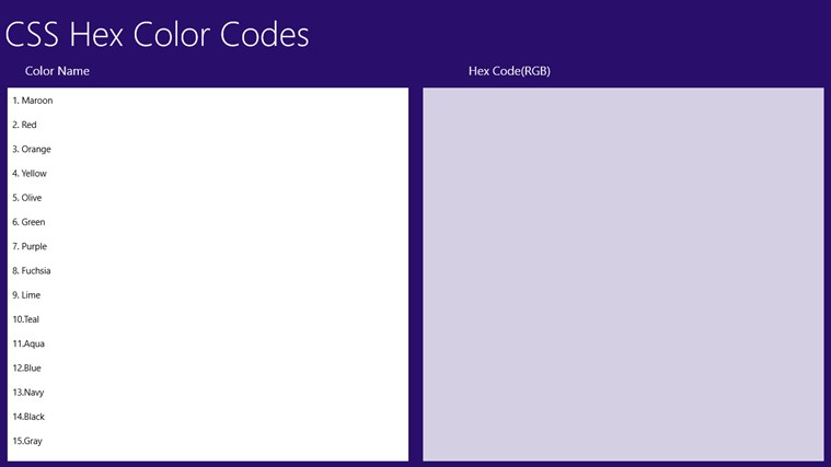 CSS Color Hex Code mechanical color code