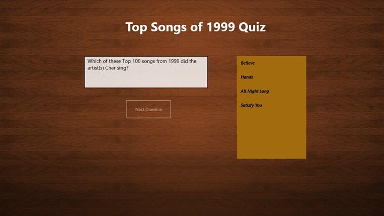 Top 100 Songs of 1999 Quiz