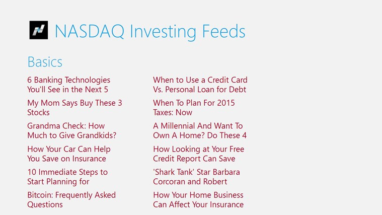 NASDAQ Investing Feeds