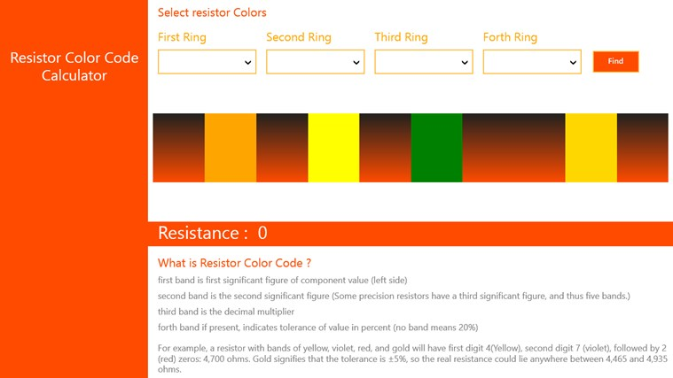 Resistor Color Code Cal mechanical color code