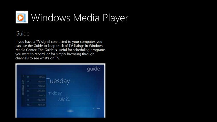 Guide Windows Media Player for PC