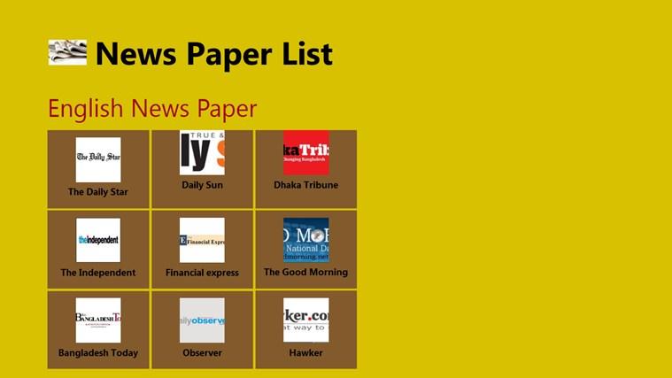 News Paper List