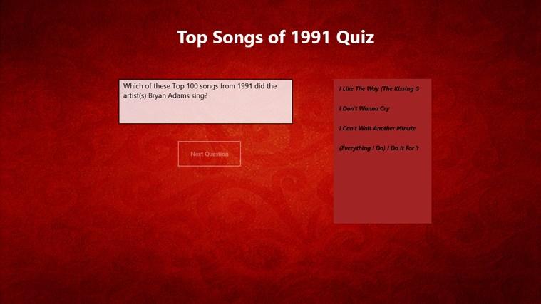 Top 100 Songs of 1991 Quiz