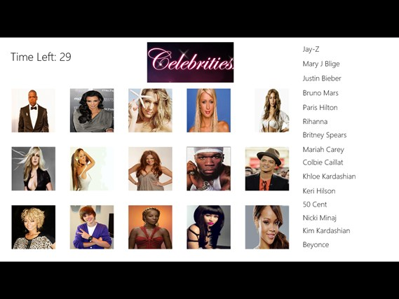 Celebrity Matching Game celebrities oops female photos