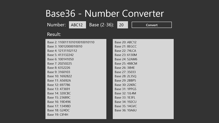 Base36 number scapez