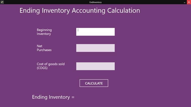 Ending Inventory app