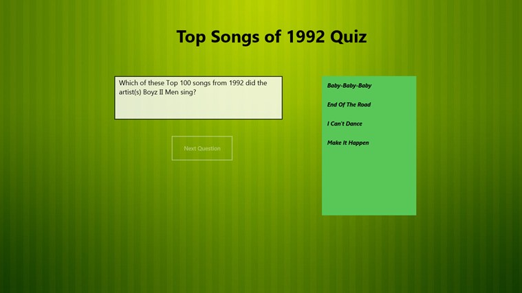Top 100 Songs of 1992 Quiz