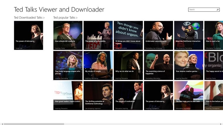 Ted Talks Viewer and Downloader talks youtube