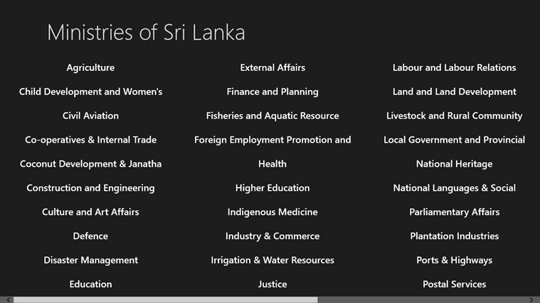 Ministries of Sri Lanka action ministries