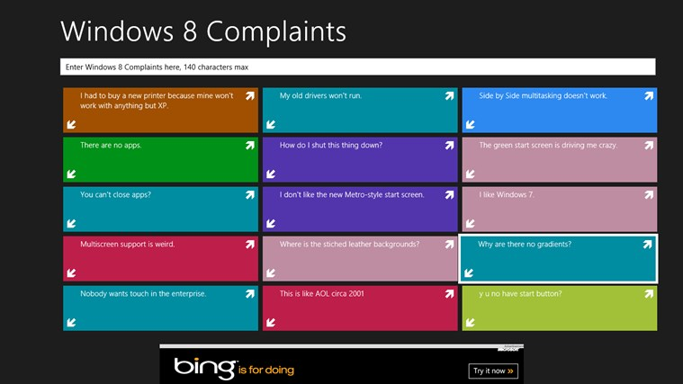 Windows 8 Complaints