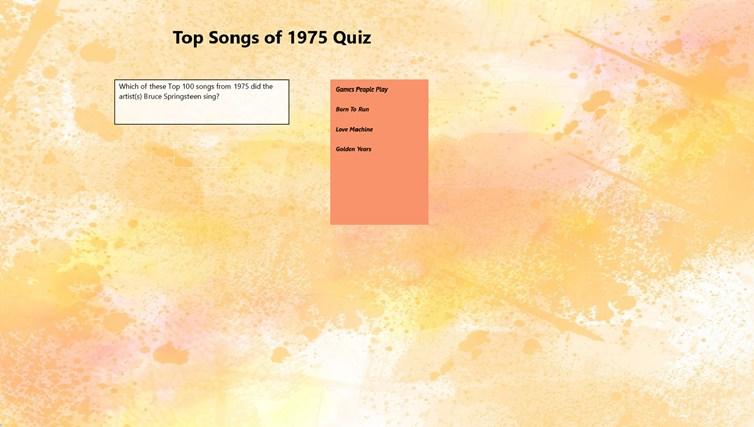 Top 100 Songs of 1975 Quiz