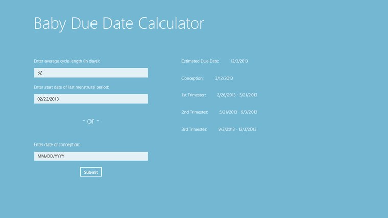 Due date calculator with cycle length in Sydney