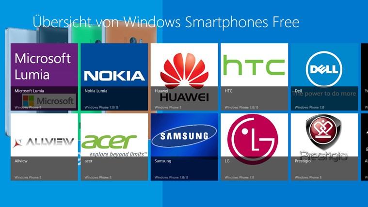 Übersicht von Windows Smartphones Free