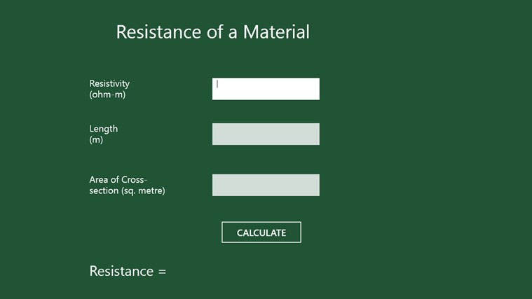 Material Resistance Calculation