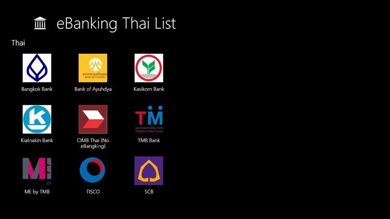 eBanking Thai List
