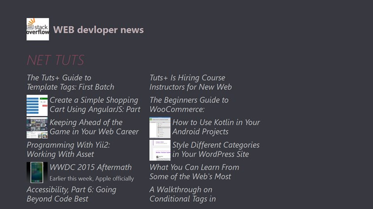 WEB devloper news applications