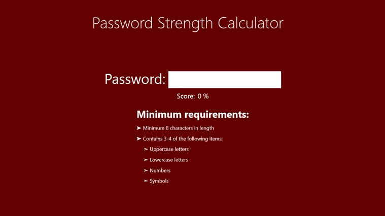 Password Strength Calculator