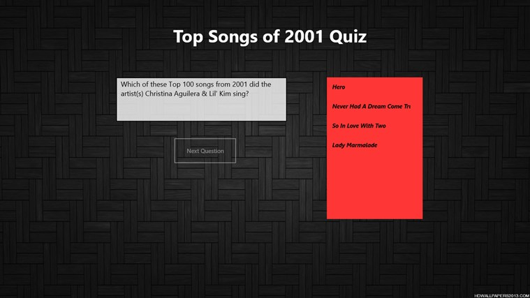 Top 100 Songs of 2001 Quiz