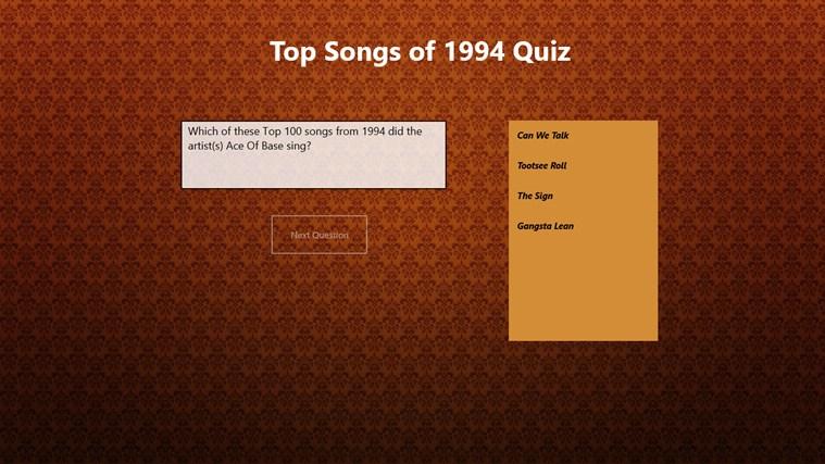 Top 100 Songs of 1994 Quiz