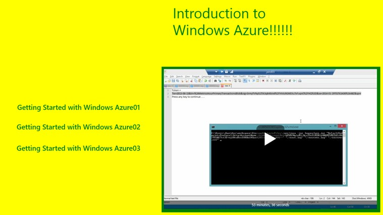 Start windows Azure Video start video