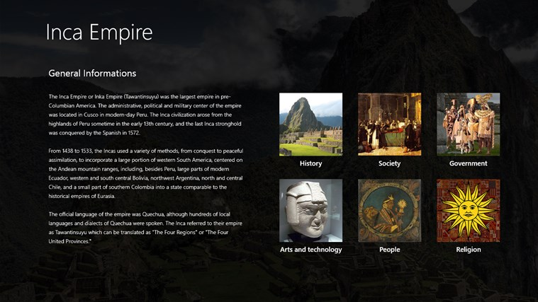 an introduction to the history of the inca empire Los incas tells about the history of the empire, how it all started, wich incas ruled and what they did, how they organized society, politics, religion and expansion while la destrucción del imperio de los incas tells the sad story of how the empire came to an end, starting with the civel war between the two brothers atahualpa and huascar up.