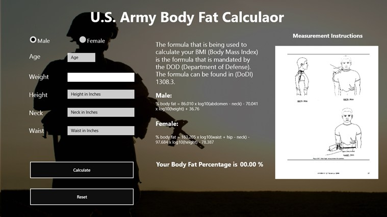 body fat percentage formula calculator