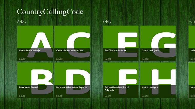 Country Calling Code bingo calling card