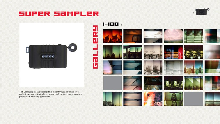 Free Super Sampler Photo Gallery camera