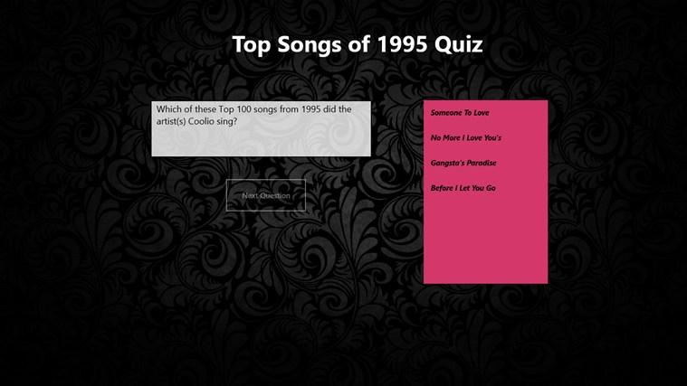 Top 100 Songs of 1995 Quiz