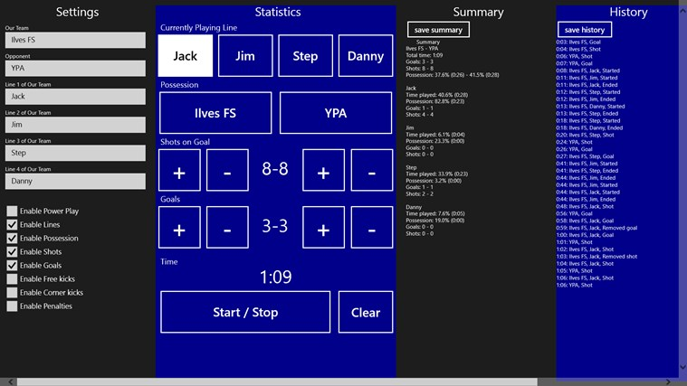 Futsal Stats stats