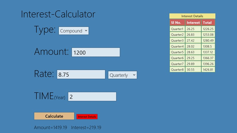 Loan Interest Yearly Calculator